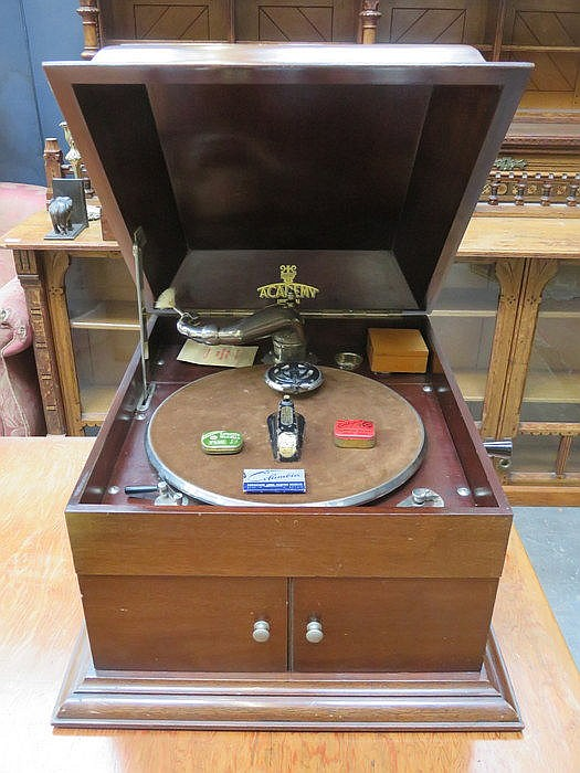 MAHOGANY CASED ACADEMY GRAMAPHONE WITH ACCESSORIES