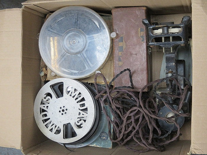 BOX CONTAINING CINE CAMERA, PROJECTOR AND ACCESSORIES