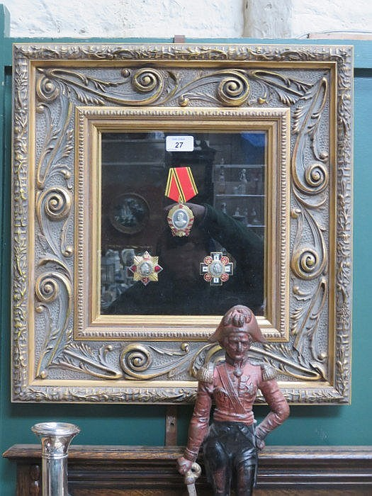 PRETTY GILT AND GLAZED FRAME CONTAINING SET OF THREE IMPERIAL RUSSIAN MEDAL