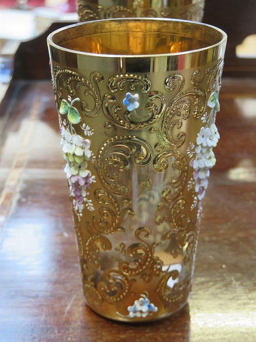 SET OF SIX HEAVILY GILDED AND RELIEF DECORATED VENETIAN GLASSES