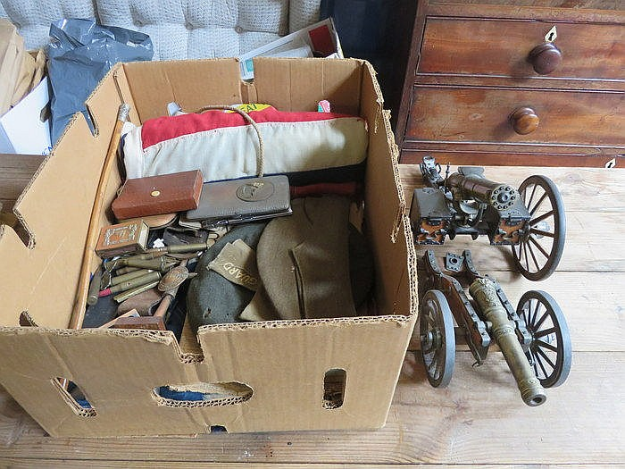 PARCEL OF WORLD WAR II MILITARIA INCLUDING FLAGS, CAPS, TRENCH ART, SWAGGER