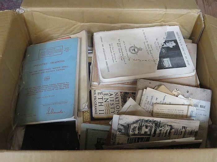 PARCEL OF MAINLY WORLD WAR II EPHEMERA, RATION BOOK AND TRAINING MANUELS, E