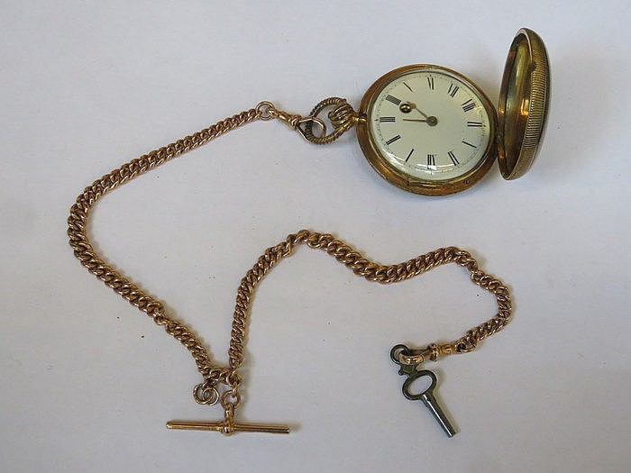 SAMUEL THORNDIKE YELLOW METAL POCKET WATCH WITH ENAMELLED DIAL WITH 9ct GOL