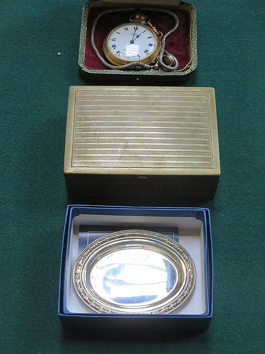SMITHS GOLD COLOURED POCKET WATCH, STATE EXPRESS CIGARETTE CASE + OVAL RECE