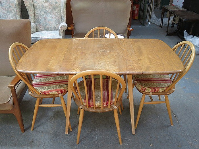ERCOL GOLDEN DAWN DROP LEAF DINING TABLE AND FOUR CHAIRS : H1408 L118346327 from www.invaluable.co.uk size 700 x 525 jpeg 107kB