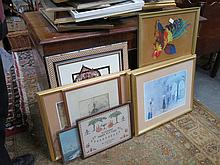 QUANTITY OF FRAMED PRINTS AND 1930'S SAMPLER.