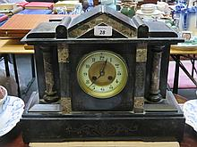 DECORATIVE BLACK SLATE MANTLE CLOCK.