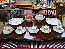 PARCEL OF BLUE AND WHITE VICTORIAN GLIDED TEAWARE.