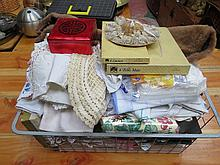 MIXED LOT OF VARIOUS LINENS, COASTERS ETC...