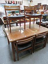 G PLAN STYLE TEAK EXTENDING DINING TABLE WITH ONE LEAF, SIX CHAIRS AND SIDE