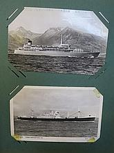 ALBUM OF SHIPPING RELATED POSTCARDS.