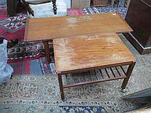 TWO TEAK COFFEE TABLES AND DRESSING TABLE STOOL.