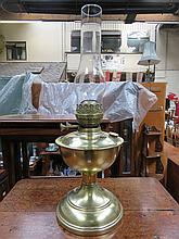 BRASS OIL LAMP WITH SHADE.
