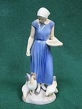 DANISH CERAMIC FIGURE IN THE STYLE OF ROYAL COPENHAGEN, APPROXIMATELY 24cm
