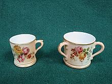 ROYAL WORCESTER MINIATURE TWO HANDLED TYG AND MINIATURE TANKARD