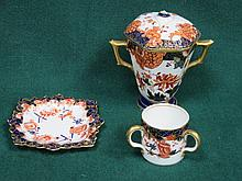 ROYAL CROWN DERBY THREE HANDLED MINIATURE TYG, ROYAL CROWN DERBY RECEIVER A