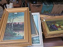 MIXED LOT OF CANVAS PICTURES, WATERCOLOURS ETC...