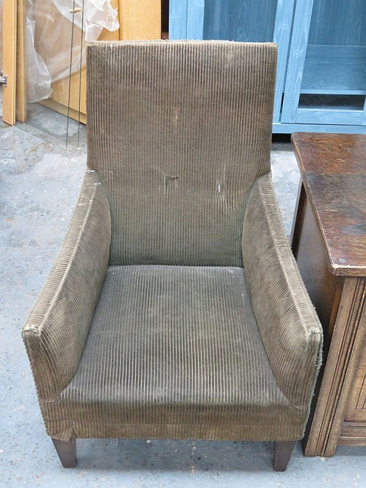 small upholstered victorian armchair