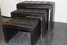 3 Black Leather Nesting Benches