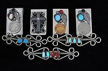 4 Money Clips, 3 Pins w/ Turquoise