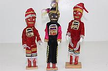 3 Hand Carved Wooden Dolls