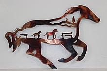 Handmade Metal Wall Art Horses within Horse