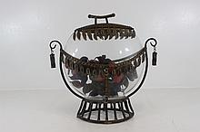 Decorative Metal Glass Vase w/Lid