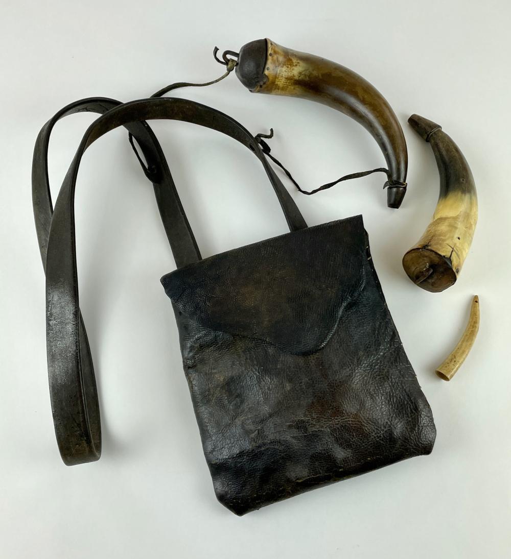 Pair of Powder Horns and Bag