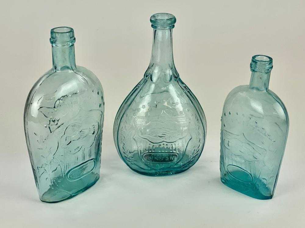 "Three ""Union"" Blown Glass Bottles"