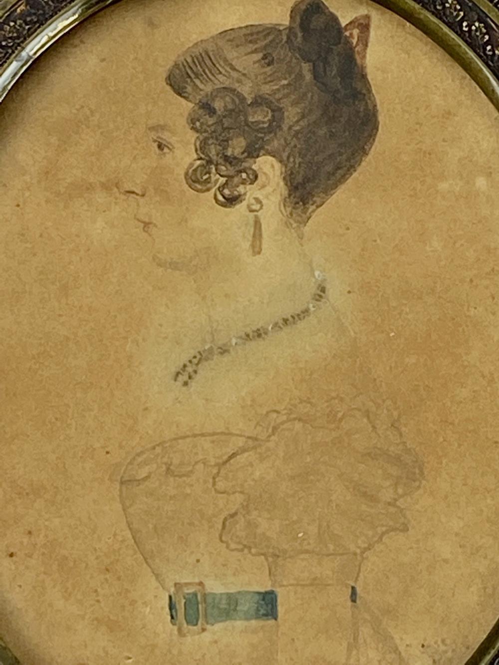19th Century American Miniature Portrait of Woman