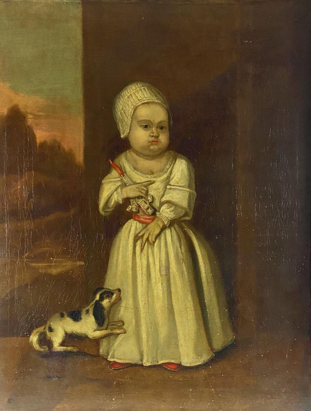 18th Century English Folk Art Portrait of Child