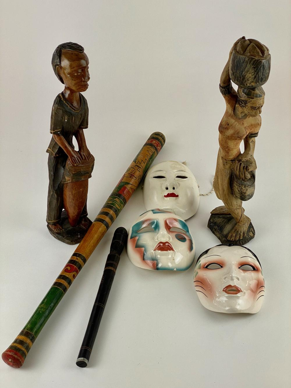 Collection of Carvings, Masks, Bat, Knife