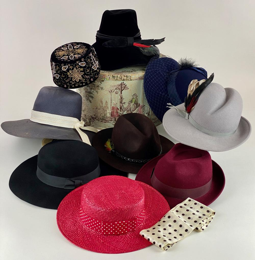 Fancy Hat Collection with Hat Stands