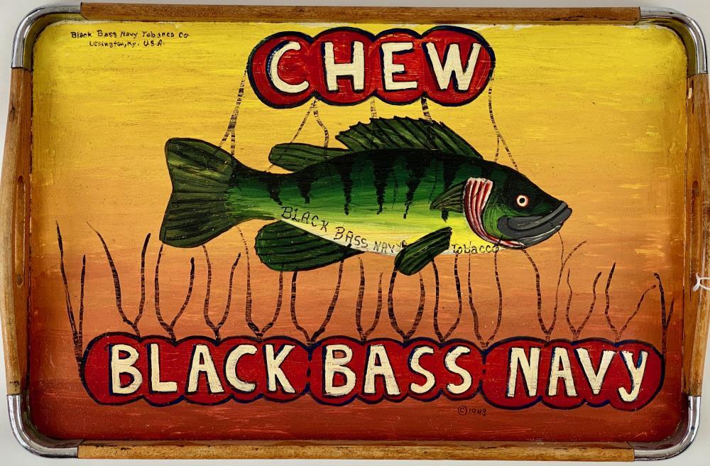 "Brent Collinsworth Folk Art ""Chew Black Bass Navy"" Serving Tray"