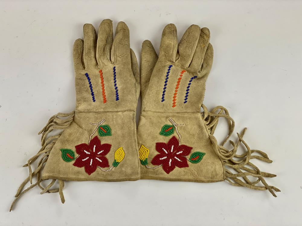 Pair of Floral Beaded Gloves