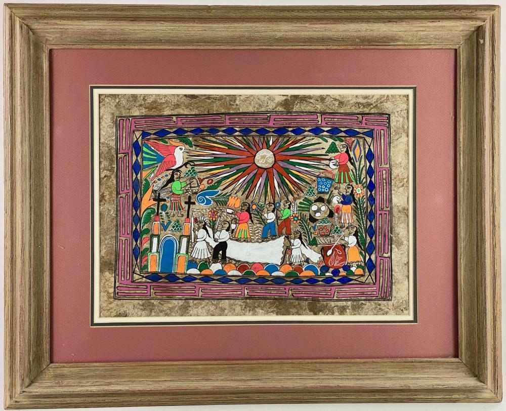 Mexican Ceremonial Wedding Folk Art Painting
