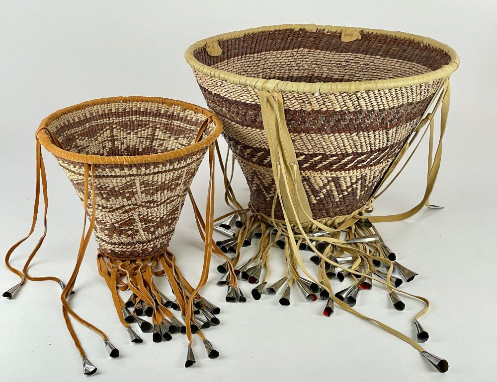 Woven Indian Baskets with Wind Chimes