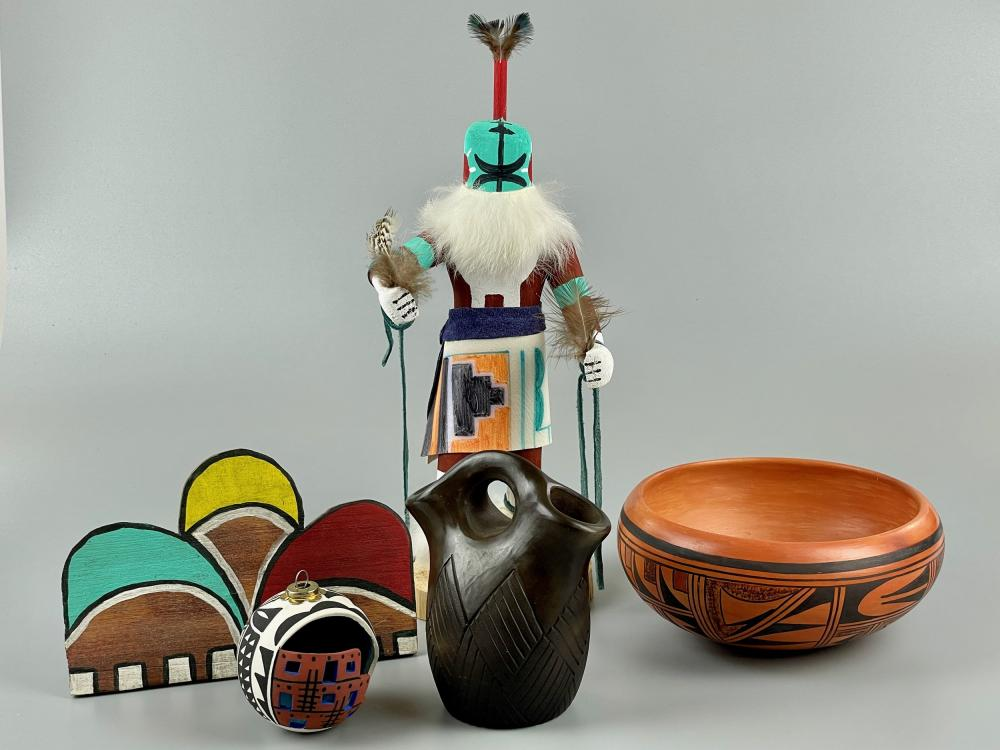 Group of Southwestern Pottery, Katsina and Stand.