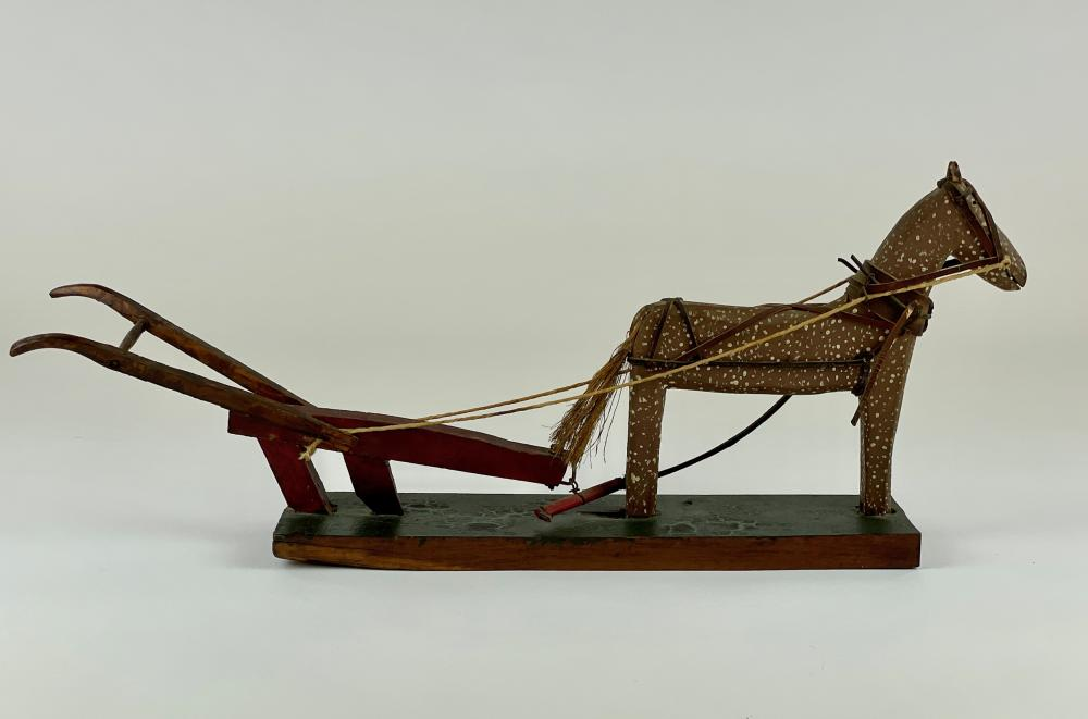 Folk Art Carved Horse and Plow