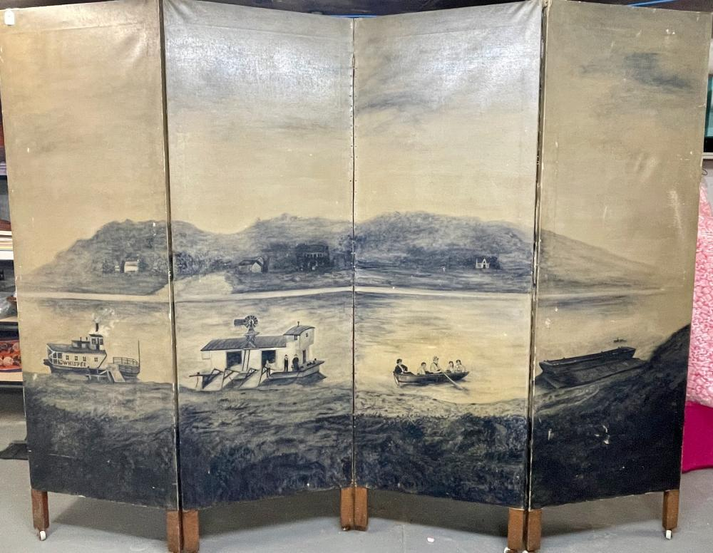 Midwestern Primitive Screen with Ohio River