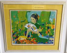 """Pang Jen (1928-), """"Girl with Fruit"""" Lithograph, Numbered 14/95"""