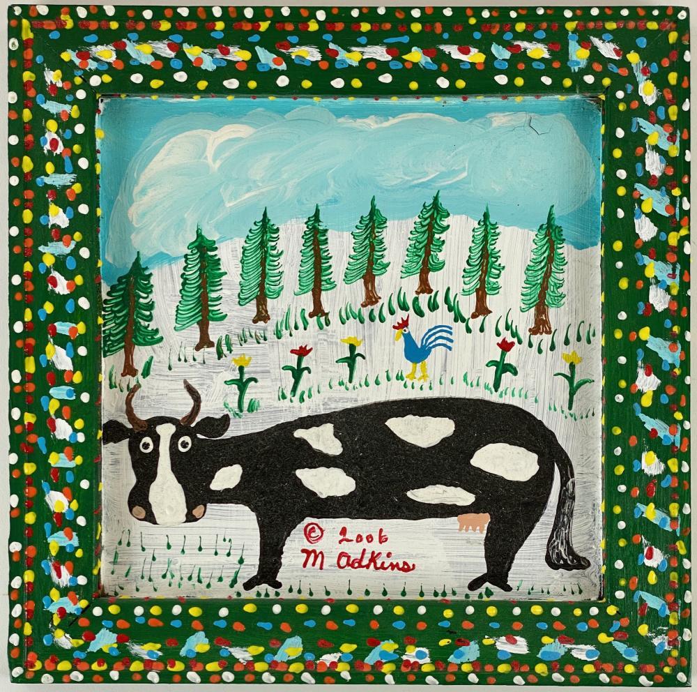 Minnie Adkins (KY, 1934), Folk Art Cow Painting