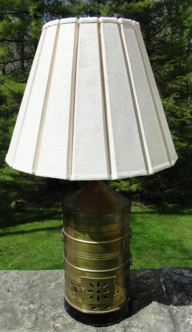 Pair Of Brass Colonial Style Lamps W Pleated Shades 36 Quot H