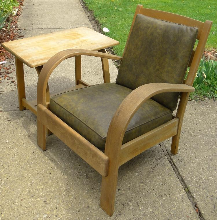 Art deco love seat and matching arm chair w leather cushions for Matching arm chairs