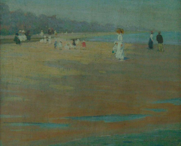 Frederick F. Fursman (1874-1943), untitled, oil on canvas on board depicting French beach scene, signed, 18-1/8