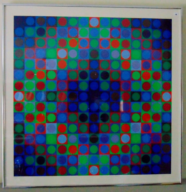 Victor Vasarely (Hungarian, 1906-1997), Marc Bleu positive serigraph, signed, 117/180, 30.5