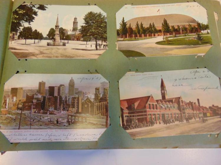 Real Life post cards of towns, to include: San Francisco; San Francisco fire; Frisco, California; and Denver, Colorado; many Wisconsin cities including: Waukesha; Plymouth; Lake Beulah; Jefferson; East Troy; Milwaukee; Waterford; Hartland; Waupaca;