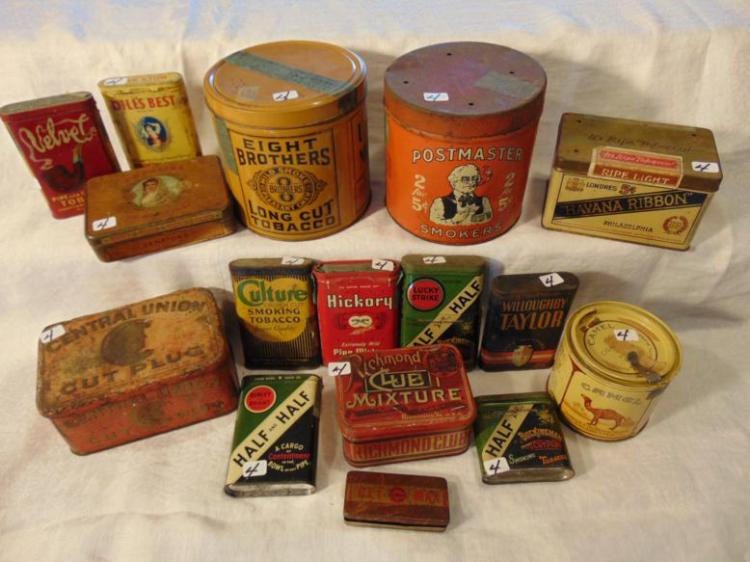 Tobacco tins, antique, to include: Central Union Cut Plugs; 8 Brothers; Post Master; Half and Half; Richman Club; Clue Mixture; Diller's Best; La Plaina; Velvet; Lucky Strike; Willoughby Taylor; Hickory; Havana Ribbon; and Culture smoking tobacco.