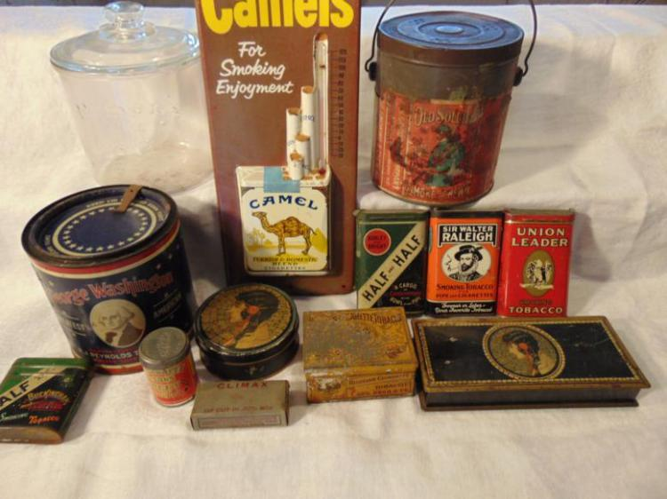 Tobacco tins, antique, to include: Camel Cigarettes tin thermometer advertisement; Sir Walter Raleigh; Half and Half Cut Plug; W.E. Tarrett & Sons Sweet Mild Snuff; Art Noveau; Union Leader; Russian Cigarettes; Aug. Beck and Company; Climex Tobacco;