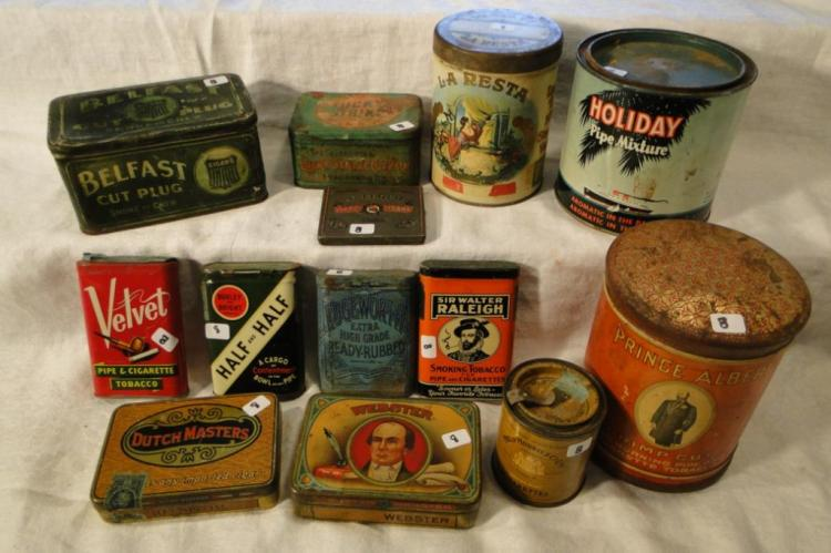 Tobacco tins, antique, to include: Phillip Morris and Co Ltd; Prince Albert; Holiday Pipe Mixture; La Resta; Bellfast Cut Plug; Webster; St. Leger Little Cigars; Half and Half; Sir Walter Raleigh; Velvet; Edge Worth; Dutch Masters; and Lucky Strike